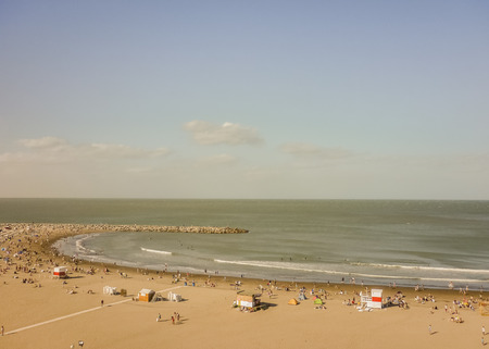Aerial view of a beach in the city of Mar del Plata, the most famous watering place in the atlantic coast of Argentina, south america. Archivio Fotografico