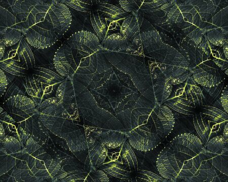 manipulate: Beautiful decorative floral swirls motif pattern design in green and yellow tones in black background made from plants photos in digital style technique.