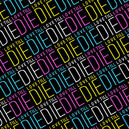 fellings: Love quote concept typographic design pattern in vivid saturated colors thin letters in black background.