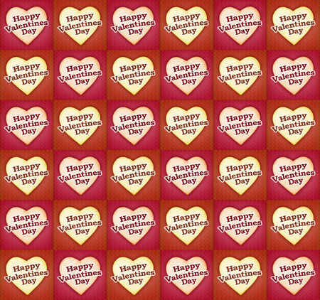tex: Heart shaped happy valentine day tex design pattern in warm tones in red background.