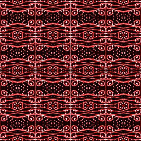 saturated: Digital art technique style abstract ornament tribal decorative pattern in vivid and saturated red tones and black background.