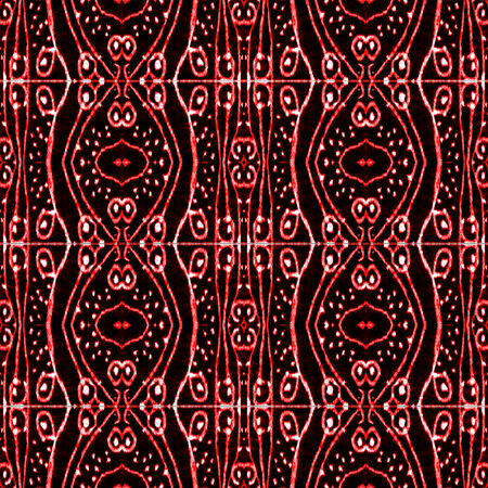 Digital art technique style abstract ornament tribal decorative pattern in vivid and saturated red tones and black background. photo