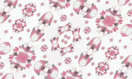 motif pattern: Digital geometric modern floral motif pattern in pale or pastel red and gray colors in white background. Stock Photo