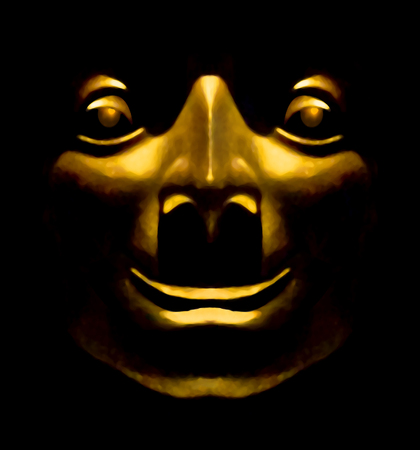 photo manipulation: Photo manipulation of an ancient tribal culture religious face golden sculpture with happy expression against black background. Stock Photo