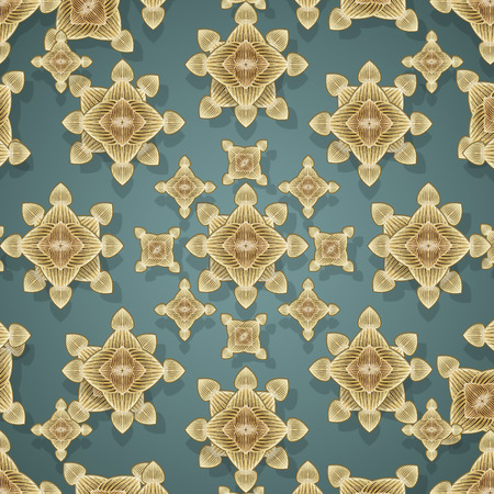 motif pattern: Decorative ornate geometric modern graphic shapes motif pattern in warm colors and blue background.