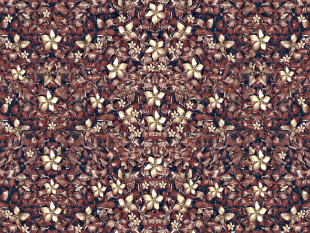desaturated colors: Digital style collage technique beautiful and unique flowers motif pattern background in desaturated yellows, reds and blues colors.