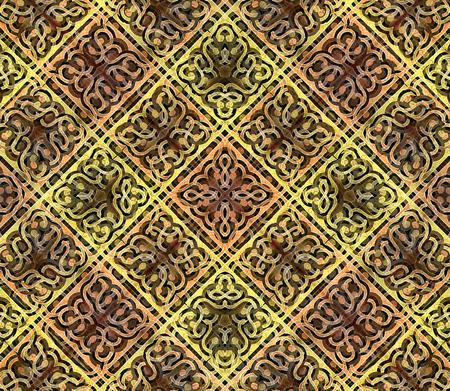 motif pattern: Decorative ornament geometric motif pattern in hard contrast and vivid warm colors Stock Photo