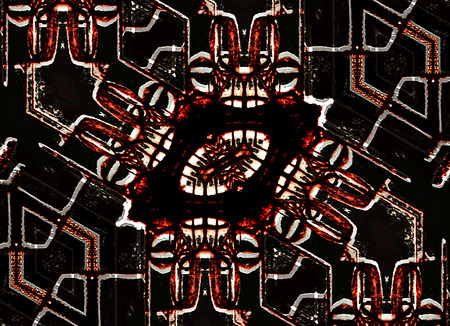 photo collage: Digital art photo collage technique geometric abstract futuristic tribal style background in vivid red colors and black background. Stock Photo