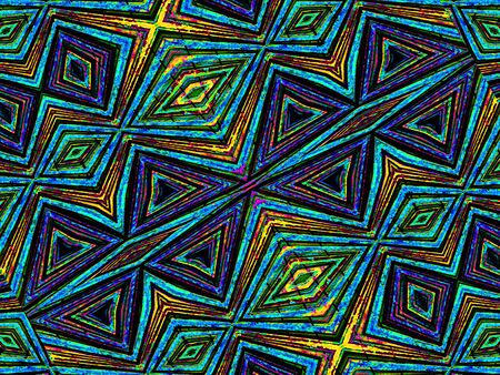motif pattern: Colorful tribal style abstract geometric background with diamonds motif pattern in multicolored tones.
