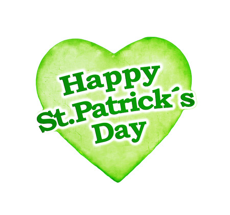 Unique and different happy sant patricks day heart with letters style design in colorful and saturated green tones photo