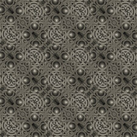 Islamic or tribal style art stone motif abstract geometric arabesque photo collage manipulated digital technique pattern background in gray tones. photo