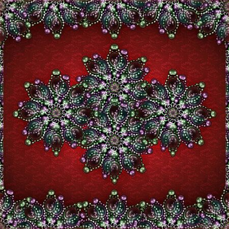jewerly: Refined digital photo manipulation technique decorative artwork  jewerly motif and textured floral pattern background in saturated mixed colors..