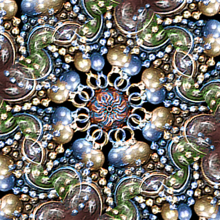 manipulation: Refined digital photo manipulation technique decorative artwork jewerly motif pattern background in saturated multicolored tones.
