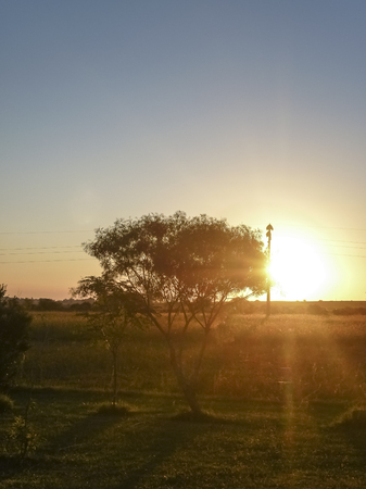 outsides: Beautiful peaceful rural scene at sunset with nobody around in the outsides of the city of San Jose in Uruguay