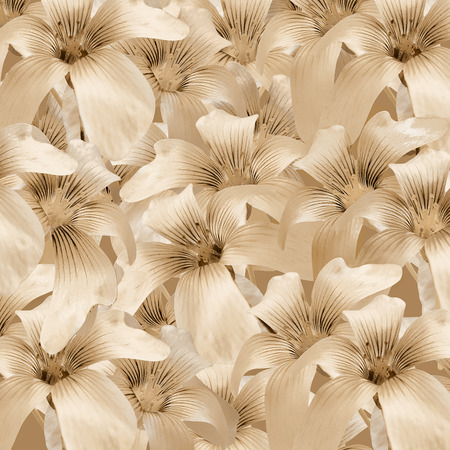 ocher: Beautiful and elegant floral collage lilies pattern motif background in light ocher tones.