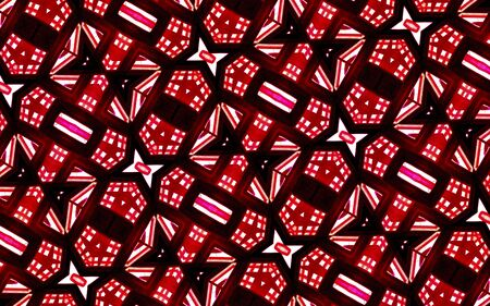 futurism: Geometric abstract digital photo collage technique futuristic pattern background in red and white colors. Stock Photo