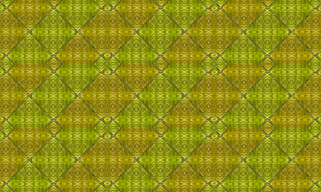 Digital art luxury geometric nature motif pattern background in green and yellow colors. photo