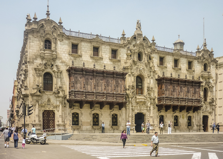 Lima, Peru, April 2014 - Beautiful ornate style building in Plaza Mayor in the historic center of Lima city in Peru, South America