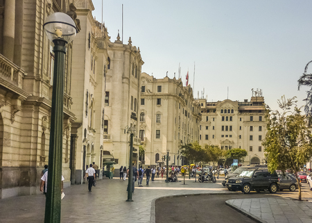 Lima, Peru, April - 2014 - Nice neoclassic style building in plaza san martin square in Lima, the capital of Peru.