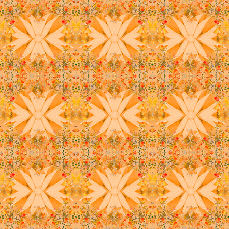 Beautiful decorative collage floral swirls motif pattern design in orange and yellow colors.
