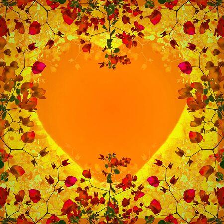 vivid colors: Beautiful decorative digital technique collage floral swirls motif pattern design with heart shape at center in vivid warm colors.