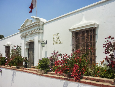 Exterior view of archaeological museum Rafael Larco Herrera which displays galleries showing 3000 years of development history of pre columbian peruvian cultures. Editorial