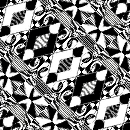 ilustraciones africanas: Dibujo a lápiz y técnica edición digital tonos blanco y negro patrón de fondo de arte tribal o étnico con símbolos geométricos y abstractos adorno en contraste duro.