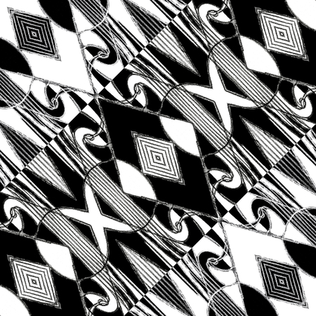modules: Pencil drawing and digital edition technique black and white tones tribal or ethnic art background pattern with geometric and abstract symbols motif in hard contrast. Stock Photo