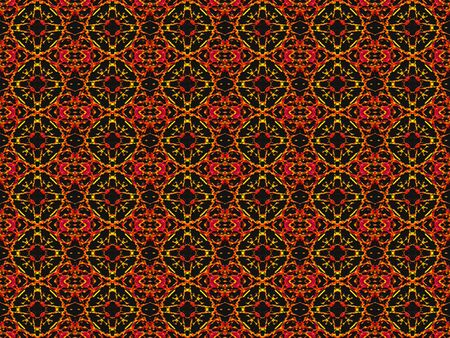 Ethnic textile style abstract geometric motif pattern in vivid and saturated warm tones in black background photo