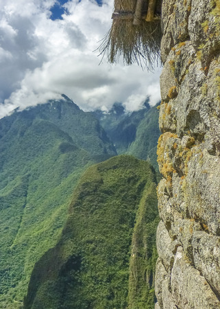 highs: Spectacular landsacpe view of big mountain in the ancient inca city of Machu Picchu in Cuzco, Peru.