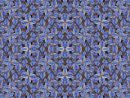 desaturated colors: Digital style collage technique beautiful and unique artificial flowers motif pattern background in desaturated blues colors. Stock Photo