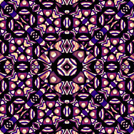 African, tribal or ethnic style geometric abstract seamless pattern in vivid multicolored tones created with digital technique. photo