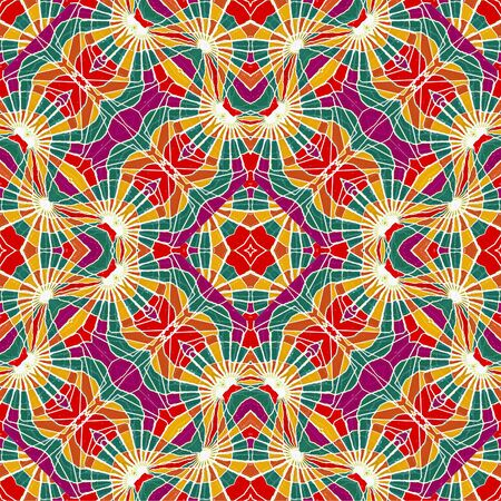 Digital tehchnique geometric abstract seamless pattern in vivid multicolored tones in square format photo