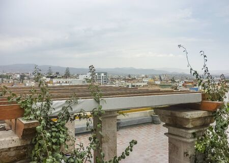 gazer: Beautiful distant view of Misti volcano from a gazer in the city of Arequipa in Peru, South America.