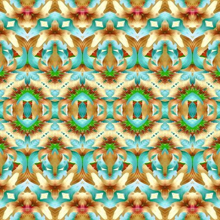 photos of pattern: Colorful decorative modern swirls motif pattern design in multicolored tones made it from flowers and plants photos in digital style technique.
