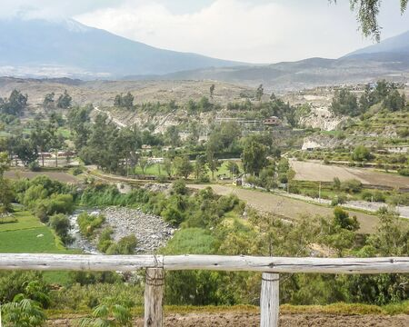gazer: Misti colcano and nature view from a gazer in the city of Arequipa in Peru, South America.