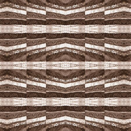 photo manipulation: Digital collage and photo manipulation technique geometric modern decorative pattern in pale brown tones.