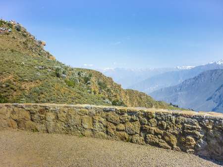 viewer: Spectacular landscape view of big mountains from a viewer in Colca valley in the outsides of Arequipa city in Peru. Stock Photo