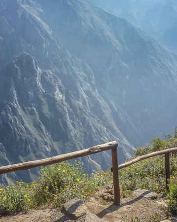 highs: Spectacular landscape view of big mountains in Colca valley in the outsides of Arequipa city in Peru.
