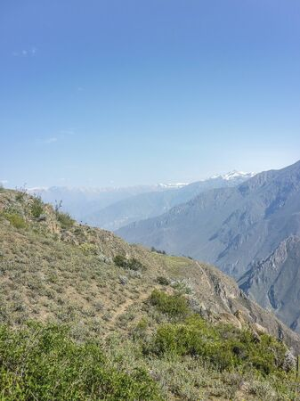 outsides: Spectacular landscape view of big mountains in Colca valley in the outsides of Arequipa city in Peru.