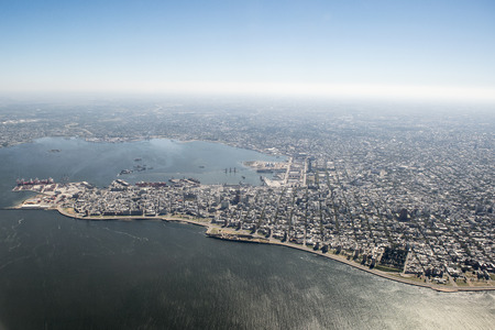 Aerial view from window plane of the capital city of Uruguay in South America Archivio Fotografico