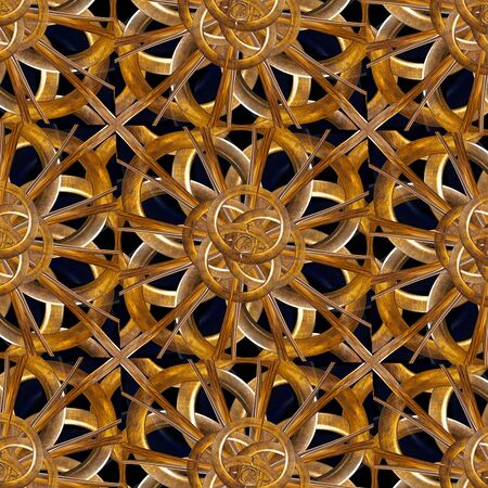 exclusive photo: Fantasy complex intricate modern ornament arabesque artwork made with digital photo collage and manipulation technique in brown and black tones. Stock Photo