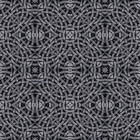 Abstract geometric ornate arabesque stone carving art seamless pattern digital collage and manipulation technique in silver tones Stock Photo