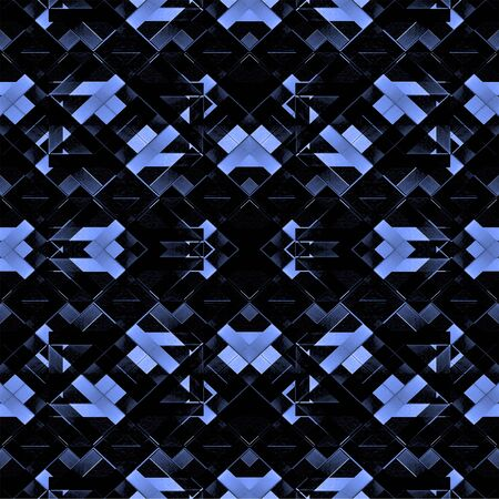 photo manipulation: Digital collage and photo manipulation technique futuristic abstract geometric modern pattern in black and blue tones.