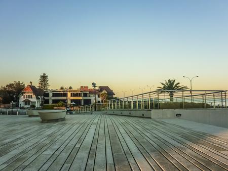 hotel and casino: Wood deck esplanade of the famous Hotel Casino Carrasco in Montevideo, Uruguay.