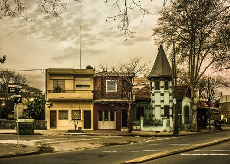 edited photo: Color edited photo of picturesque medieval style home and others houses in a traditional neighbourhood of Montevideo, the capital of Uruguay. Editorial