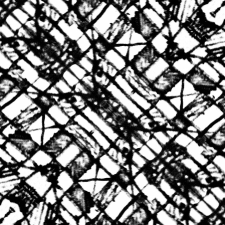 textile design: Pencil drawing and digital edition technique black and white tones tribal or ethnic art background pattern with geometric and abstract symbols motif in hard contrast. Stock Photo