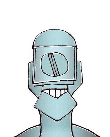 expressionless: Raster illustration portrait of blind robot man caricature in cold blue tones isolated in white background.