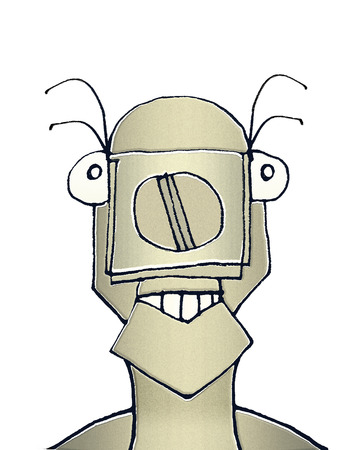 Raster illustration portrait of cute weird animal robot caricature in warm brown tones isolated in white background. illustration