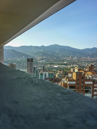 medellin: Aerial view of buildings and mountains in Medellin, one of the most important cities of Colombia, in South America